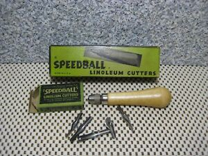 Vintage__SPEEDBALL Linoleum cutter__Handle with 5 Cutters__# 2-17-A