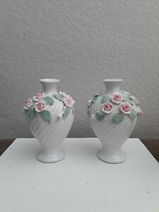 Pair of Vintage M & S St. Michael?  White Vase with Applied Roses