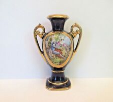 """Camille Tharaud Cobalt 5 5/8"""" Vase with Portrait, Trimmed in Gold, Limoges"""