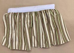 "Ralph Lauren Dust Ruffle Bed Skirt 16"" Drop Olive Green Stripes QUEEN"