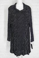 YUSHI Tunic Shirt Cowl Neck Black Off White Stripes NWT XLarge