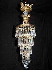 Antique brass crystal Empire chandelier 1 light,wedding cake,with cherubs