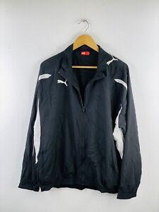 Puma Men's Vintage Full Zip Track Suit Branded Logo Jacket Size XL Black White