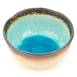 Bowl Japanese Stylish Tableware Fruit Sushi Noodle- Exotic Blue Crackle-Glaze