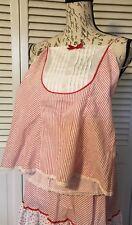 Vintage Blush Camisole M Slip/petticoat M Red Strip/ Print With Lace Trim Boho