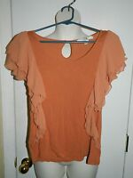 XXI Forever 21 Rust Ruffle Orange Top Blouse Size Large