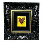 "Romero Britto ""With Love"" Unique Original Painting 2019 Yellow Red Heart COA"