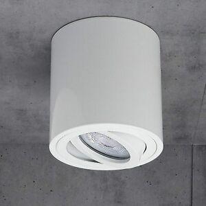 CGC White Round Cylinder Surface Mount Adjustable Tilt GU10 Ceiling Downlight