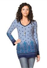 BOYSEN'S Shirt Tunika Shirt  V-Ausschnitt Figurbetont Blau Bedruckt - Gr.38 NEU