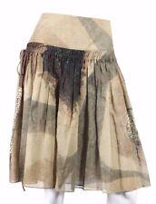 AKRIS $995 Brown Garden Photo Print Cotton Drawstring Pleated Skirt 6