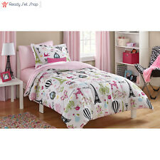 Mainstays Kids Paris Bed in a Bag Bedding Set Full Size Girls Room Bedroom New
