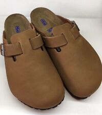 Birkenstock Boston 1002590 Size 39 L8M6 R Brown Nubuck Soft Footbed Clogs