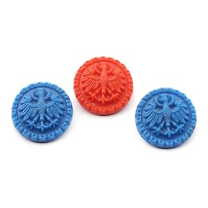 Lot (3) Czech Deco rare vintage blue red heraldic Imperial eagle glass buttons