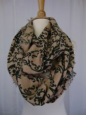 Cejon Infinity Loop Damask Printed Fringe Cowl Scarf Hunter Green #4279
