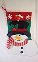 Snowman  Christmas  14 inch Felt Stocking  New