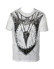 Konquest PLATINUM Men's Shield & RAVEN SKULL NECKLACE t-shirt stampa (kqts046)