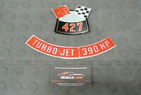427 Crossed Flags 390 HP Air Cleaner Top Lid Decals / Stickers 3902412 & 3902414