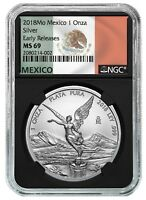 2018 Mexico 1oz Silver Libertad NGC MS69 ER - Black Core - Flag Label