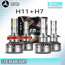 Combo H7+H11 Led Headlight Bulbs Kit 120W 24000LM High Low Beam 6000K 2 Pairs X