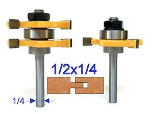 """2 pc 1/4"""" Shank Tongue and Groove Assembly Router Bit Set S"""