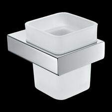 Bathroom Square Stylish Wall Mounted Single Tumbler Cup Holder Brass Chrome