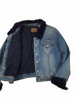 Levis Vintage Style Sherpa Collar XL Womens Denim Jacket Blue Red Tab Ladies