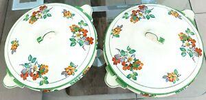 2 Art Deco Tureen Serving Veg Dishes Phoenix Wear T.F.&S. Ltd Tudor Date lined