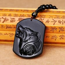 Obsidian Wolf Necklace Natural Crystal Bead Volcanic Glass Protective Pendant