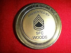 US Army SERGEANT FIRST CLASS SFC WOODS 2-Side Challenge Coin Of EXCELLENCE