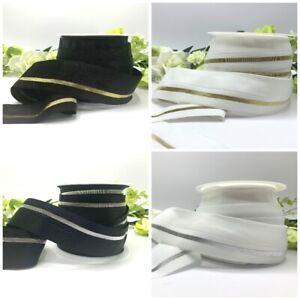 Wide 40mm fold over elastic FOE black white pre-folded edging waistband cuff