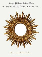 Sun Mirror, Sunburst Mirror,  Starburst Mirror, Antique Gold Colour Mirror