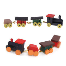 Cute 1/12 Dollhouse Miniature Painted Wooden Toy Train Set and Carriages IU
