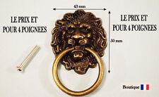 LOT DE 4 POIGNEE  ANNEAUX TOMBANT TETE DE LION TIROIR PORTE MEUBLE ANCIEN