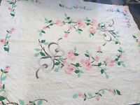 Vintage Appliqué Quilt, Hand Quilted, Roses, Flowers & Leaves, Cotton, Pink