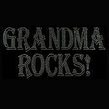 GRANDMA ROCKS Clear Rhinestone Iron on Hotfix