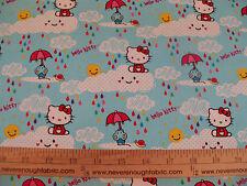 COTTON Fabric Sanrio Hello Kitty Rain or Shine Cloudy Rainy Day BTY