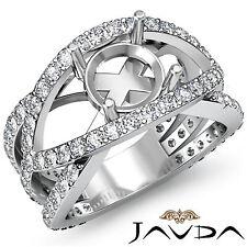 Diamond Engagement Designer Ring Round Semi Mount Halo Pave Set Platinum 1.2Ct