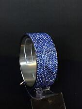 Chisel Stainless Steel Bracelet W/13 Rows of Blue Rhinestones
