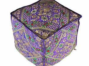 """Purple Gold Embroidered Pouf Footstool Cover - Trendy Ethnic Indian Ottoman 18"""""""