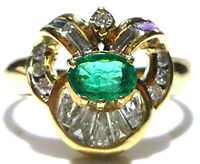 LEVIAN 18K YELLOW GOLD .45 COLOMBIAN EMERALD .55CT DIAMOND COCKTAIL RING SZ 8.5
