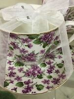GRACE'S TEAWARE WHITE PURPLE PEANSES TEA CUP & SAUCER NEW FREE SHIPPING