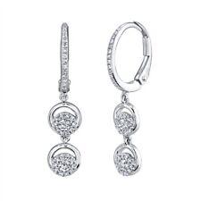 14K White Gold Diamond Circle Dangle Earrings Drop Leverback Crescent Round Cut