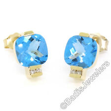 14K Yellow Gold 2.62ctw Cushion Checkerboard Blue Topaz & Diamond Stud Earrings