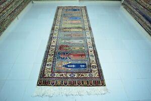 Bohemian Area Rug 3x10,Turkish Rug,Anatolian Wool Rug,Colorful Rug,Vintage Rug