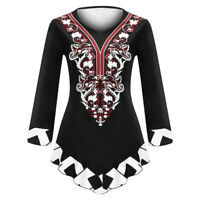 Plus Size Women Ladies O-Neck Long Sleeve Print Vintage Casual Tops Blouse