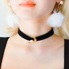 Fashion Gothic Moon Black Velvet Pearl Charm Pendant Choker Necklace Jewelry