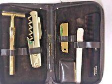 Vintage Royce Travel Vanity Set Men Gold Zip Case Razor Att 1986 Tortoise Comb