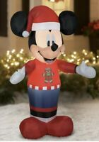 Gemmy Disney Mickey Mouse 5ft Airblown Christmas Inflatable Gingerbread Sweater