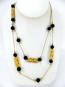 """AKI Anne Klein Gold Bars Black Glass Necklace Beaded Long Chain 38"""" Signed"""