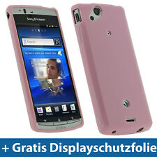 Pink Rosa TPU Tasche für Sony Ericsson Xperia Arc S Android Glanz Gel Skin Hülle